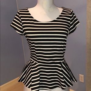 Black and White Striped Peplum Top